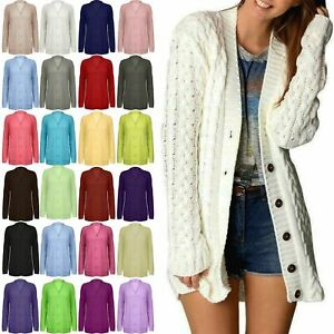 Womens Ladies Grandad Long Sleeves Cable Chunky Knitted Long Cardigan Top Size