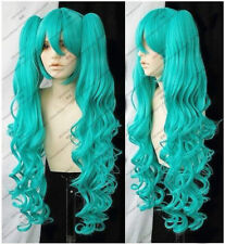 fashion Vocaloid Hatsune Miku Green Curly Cosplay WIG + 2 Ponytails  &:38