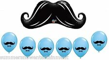 MUSTACHE Stash BASH Blue Boy (7) Birthday Party Mylar & Latex BALLOONS Set