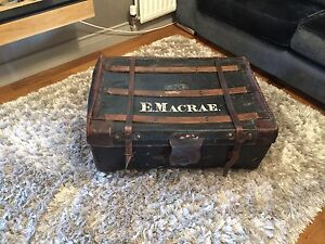 Victorian Antique Canvas/Leather Boot Trunk Campaign Chest - Coffee Table