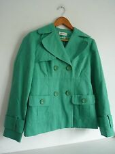 Ladies Lovely Green George Waist Length Summer Button Mac Size 8, Vgc