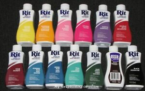 RIT 'LIQUID DYE' Clothes Dye (Choose from 36 Colours) Cotton/Wool 236ml Clothing