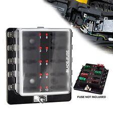 Liteway 10Way Blade Fuse Holder Box 12-32V LED Illuminated Automotive Fuse Block