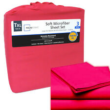 Twin XL Soft Microfiber Single Bed Sheet Set Girls (Hot Pink) Wrinkle Resistant