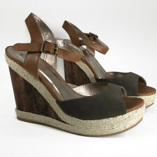 Qupid Hampton Women Platform Wedge Sandal Olive Green Faux Nubuck Wood Twine 9M
