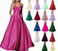 Straps Long Satin Bridesmaid Prom Dress Formal Evening Party Gown Stock Size6-20