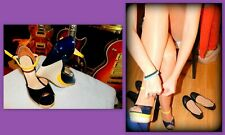 """Lady Paulina, Sexy, 5"""", Glossy Navy Wedge High Heels, 3 Tone, Ankle Strap, 8-8.5"""