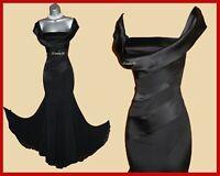 UK 10 KAREN MILLEN Black Silk Off Shoulder Bardot Long Maxi Ball Gown Dress EU38