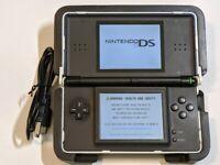 Nintendo DS Lite Cobalt Blue Black System Console w/ Nerf Case Cracked Hinge