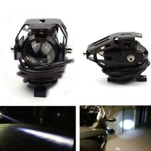 Motorcycle Black Headlights LED Light DRL Headlamp Auxiliary Lamp Fog Spotlight