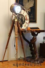 NAUTICAL TRIPOD FLOOR LAMP Table Spot Light Teak Brass Copper vintage industrial