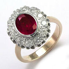 14k Rose and White Gold Genuine Ruby & Diamond G / SI1 Russian Style Ring R1804