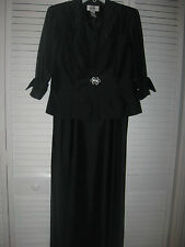 "LADIES 2 PC SUIT(DRESS & JACKET) ""CHADWICK'S"", BLACK WITH GLITTER BEADS, SZ 10P"