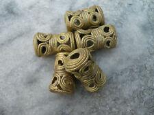 5 Perlen Messing Ghana Ashanti 21 x 12 mm Sanduhr mit Kreisen