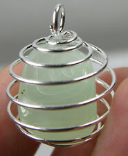Africa 100% Natural Tumbled Rough Prehnite Crystal In Spiral Cage Pendant