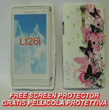 Pellicola+Custodia cover case FARFALLE NERE ROSA per Sony Xperia S Arc HD LT26I