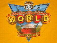 Harley Davidson Motorcycles World Oklahoma City Route 66 Biker Yellow T Shirt XL