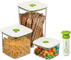 NEW Seal'In Food Storage Vacuum Containers with Patented Design Set of 3 Green~