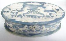 Vintage INCOLAY Stone Blue Unicorns Horses Cameo Jewelry Trinket Box
