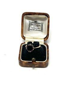 Brilliant Antique Art Deco 9ct Yellow Gold 375 Garnet Ring Size M #1246