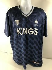 AKOO Men's Kings BARBADOS 80 Soccer Style Jersey Shirt Top Blue 4XL