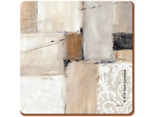 Set of 4 NEUTRAL ABSTRACT Premium Cork-Backed SQUARE PLACEMATS