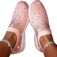 Women's Crystal Flying Woven Sneakers Casual Slip On Loafers Walking Sport 35-43