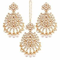 New Fashion Gold Plated Kundan & Pearl Earring Set with Maang Tikka for Women