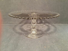 IMPERIAL CANDLEWICK  PEDESTAL CAKE STAND clear glass Footed plate Vtg cupcake