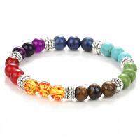 Pop Women 7 Gemstone Chakra Lava Rock Stone Prayer Reiki Bead Bracelet Bangle
