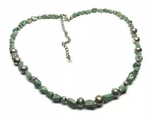 """CAROLYN POLLACK STERLING SILVER & TURQUOISE BEADS 22"""" NECKLACE"""