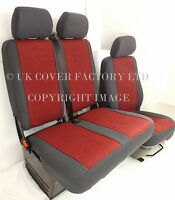 VW TRANSPORTER T5 VAN SEAT COVER BLOOD RED VELOUR CLOTH FABRIC P30MEH