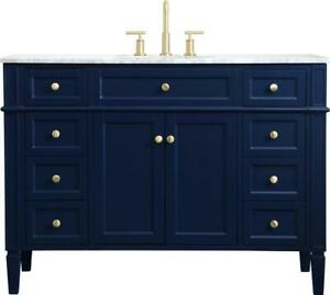 BATHROOM VANITY SINK CONTEMPORARY SINGLE BLUE BRUSHED GOLD SOLID WOOD