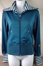 New Lululemon Jacket 8 Womens M Punya Full Zip Embroider Logo Stripe Pacific Blu