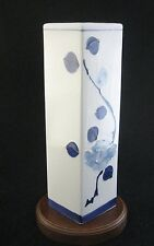 Vintage Tall Square Floral Porcelain Vase by Raj of California Made in Japan