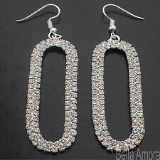 Sterling Silver Pltd Long Oval Hoop Clear Austrian Crystal Earrings UK New