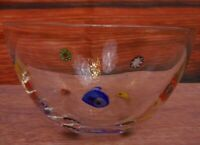 "Millifiori Glass Small Clear Glass Bowl Multi Color Floral Art apx 3"" tall"