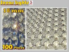 100 CHANDELIER LIGHT CRYSTALS DROPLETS CUT GLASS BEADS DROPS 18mm CRAFTS PARTS