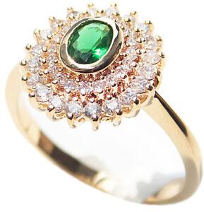 Ah! Jewellery Women's Genuine 18K Gold Filled Emerald Cubic Zirconia Ring