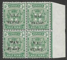 "Jamaica 1917 ½d Blue-Green War Stamp MNH Block, One with No Stop After ""Stamp"""