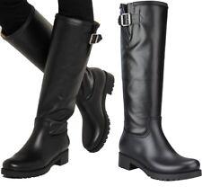 Maison Margiela MM6 Black Buckled Biker Wellingtons Rain Boots Shoes BNIB