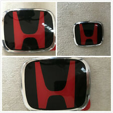 black and red honda logo. 3pcs red honda civic 2dr coupe jdm h emblem grilletrunksteering wheel badges black and honda logo _