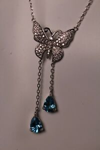 Sterling Silver Butterfly Necklace Lariat Swiss Blue Topaz and Cubic Zirconia