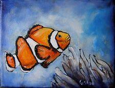 Tableau original de Caillon 18x14 cm cm toile peinture tableau poisson clown