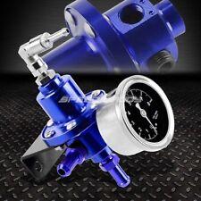 ALUMINUM 160 PSI ADJUSTABLE 1:1 FUEL PRESSURE REGULATOR+kPa OIL GAUGE KIT BLUE
