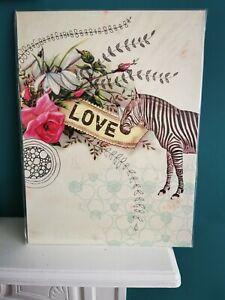 Papaya Art 'Love Zebra' ready to hang art panel, New & Unopened
