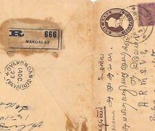 MM59 1923 India Used BURMA Superb*Oyakondan Siruvayai* Cover Registered Mandalay