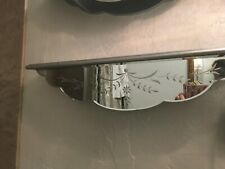 """Vtg Etched flowers Mirrored Wooden wall shelf bath bedroom display hanging 24"""""""