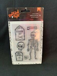 American Crafts Bootiful Night 6 Piece Halloween Stamp Set Skeleton Tombstones