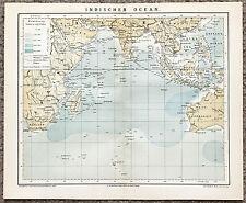 1884 Indian Ocean Map Hindustan India Africa Western Australia Original Brockhau